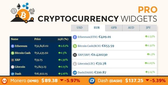 Cryptocurrency Widgets Pro - WordPress Crypto Plugin - CodeCanyon Item for Sale
