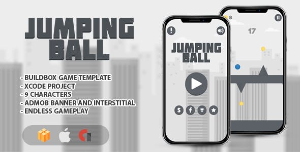 Jumping Ball - IOS XCODE Source + Buildbox Template