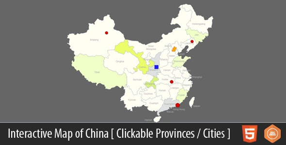 Interactive Map of China - HTML5 - CodeCanyon Item for Sale