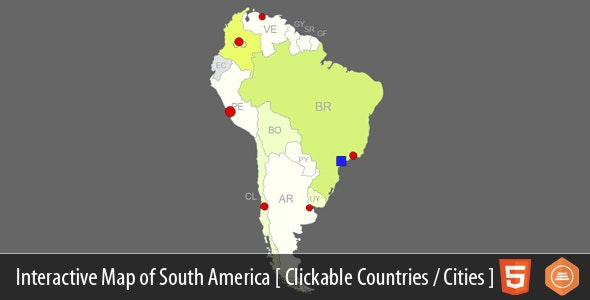 Interactive Map of South America - CodeCanyon Item for Sale