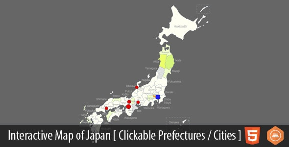 Interactive Map of Japan - HTML5 - CodeCanyon Item for Sale