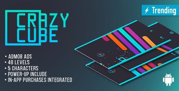 Crazy Cube (Android) Fun Arcade Game Template + easy to reskine + AdMob