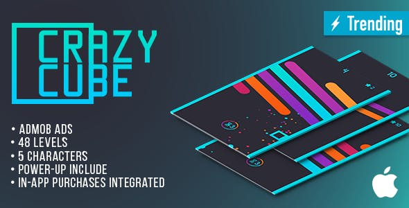 Crazy Cube (IOS) Fun Arcade Game Template + easy to reskine + AdMob