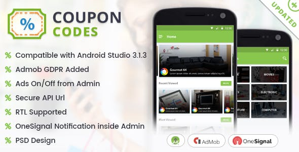 Deals & Coupon Codes Offers with Material Design