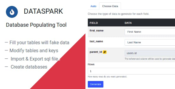 Dataspark - Database Populating Tool