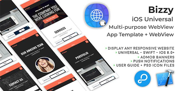 Bizzy | iOS Universal Multi-purpose WebView App + Website