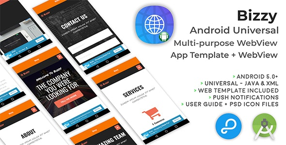 Bizzy | Android Multi-purpose WebView App + Website - CodeCanyon Item for Sale
