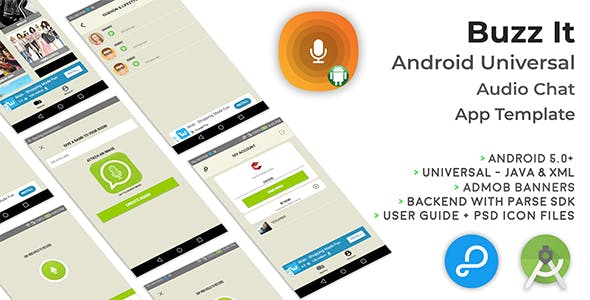 Buzz It | Android Universal Public Audio Chat App Template
