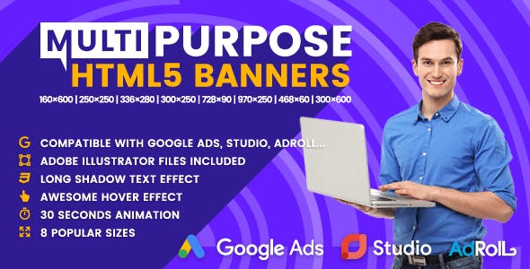 Multi - Multipurpose Animated HTML5 Banner Ads (GWD)