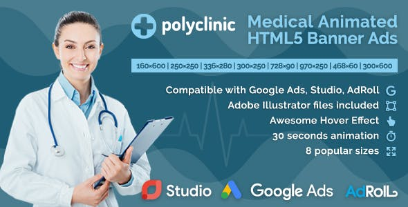 Polyclinic - Medical Services Animated HTML5 Banner Ads (GWD)