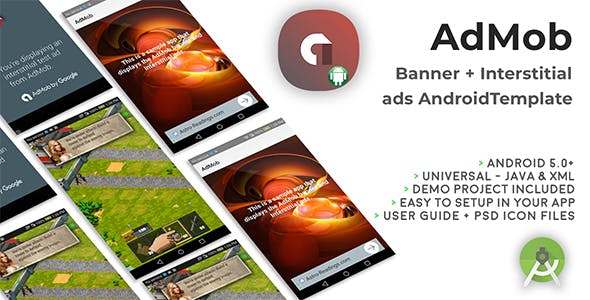 Android Universal AdMob Banner + Interstitial Ads Template