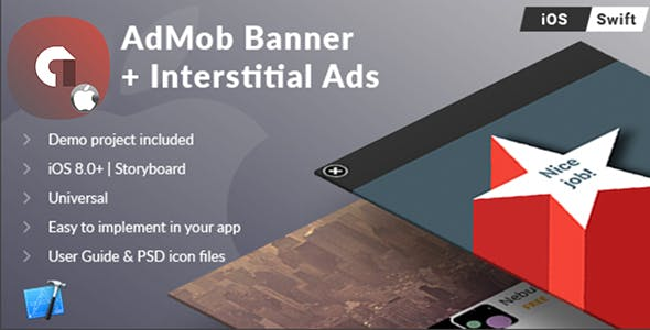 iOS Universal AdMob Banner + Interstital Ads Template (Swift)