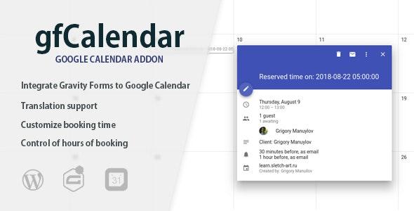 Gravity Forms - Google Calendar - gfCalendar - CodeCanyon Item for Sale