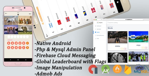 4 Pics 1 Word Game + Admin Panel(Php & Mysql) by taruv_