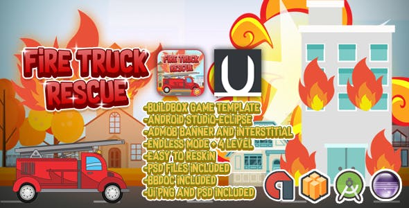 Truck Fire Rescue + Admob (BBDOC + Android Studio + Eclipse + PSD)