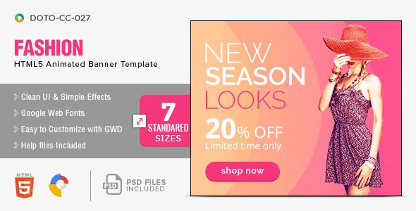 Fashion HTML5 GWD Banners  - 7 Sizes