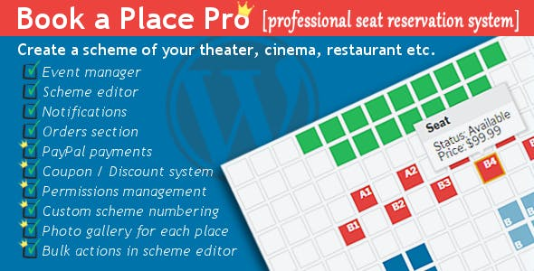 Book a Place Pro - Wordpress Plugin