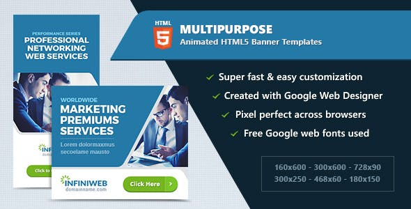 HTML5 Animated Banner Ads - Multipurpose (GWD)