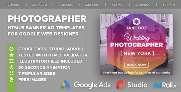 Wedding Photographer HTML5 Banner Ad Templates (GWD)