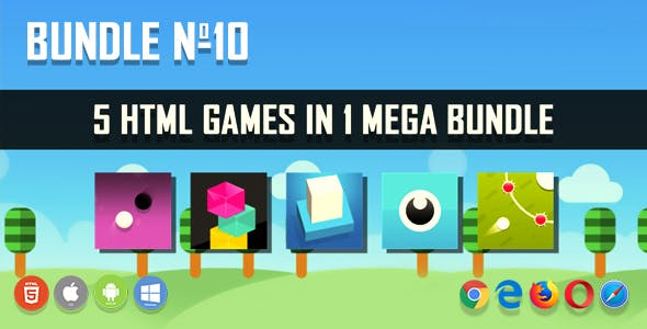 5 HTML5 Games + Mobile Version!!! BUNDLE №10 (Construct 2 / Construct 3 / CAPX)
