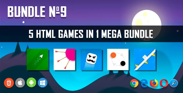 5 HTML5 Games + Mobile Version!!! BUNDLE №9 (Construct 2 / CAPX)