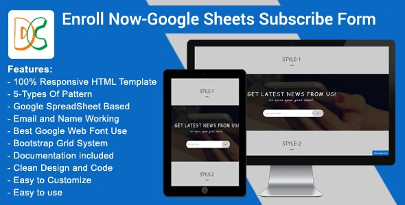 Enroll Now - Google Spreadsheet Subscribe Form by