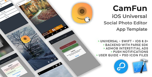CamFun | iOS Universal Social Photo App Template (Swift)