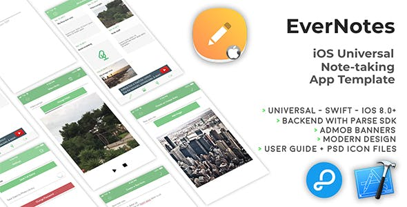EverNotes | iOS Universal Notetaking App Template (Swift)