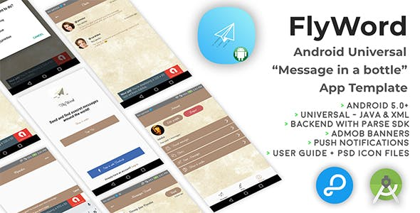 "FlyWord | Android Universal ""Message in a bottle"" App Template"