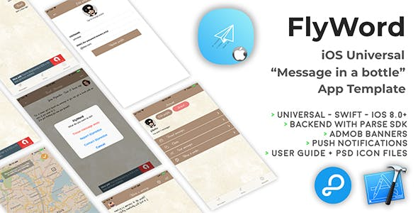 "FlyWord | iOS Universal ""Message in a bottle"" App Template (Swift)"