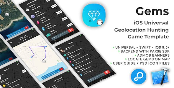 Gems | iOS Universal Geolocation Hunting Game Template (Swift)