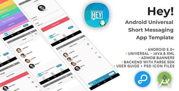 Hey!   Android Universal Short Messaging App Template - CodeCanyon Item for Sale