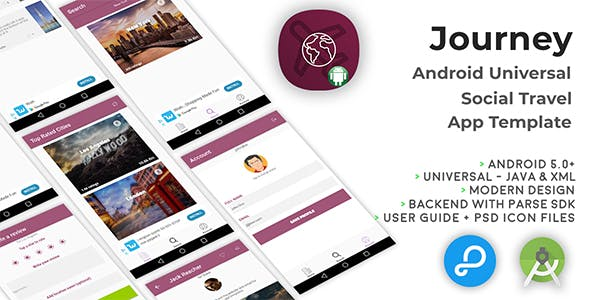 Journey | Android Universal Social Travel App Template
