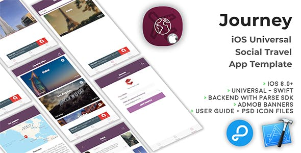 Journey | iOS Universal Social Travel App Template (Swift)