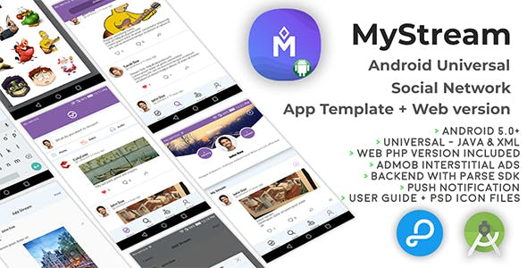 MyStream | Android Universal Social Network App Template + Web PHP version