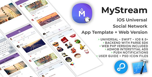 MyStream | iOS Universal Social Network App Template + Web PHP version
