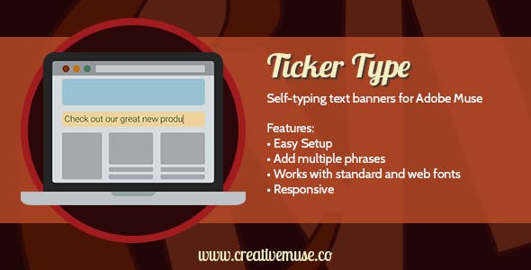 Ticker Type Widget for Adobe Muse