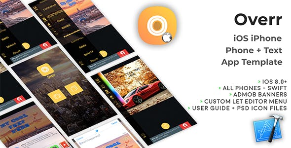 Overr | iOS iPhone Photo + Text App template (Swift)