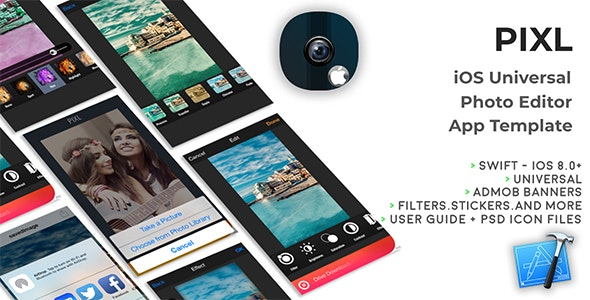 PIXL | iOS Universal Photo Editor App Template (Obj-C) - CodeCanyon Item for Sale