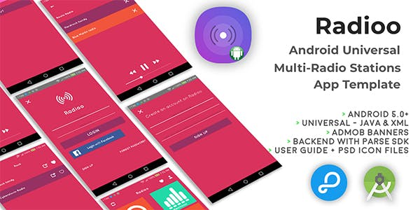 Radioo | Android Universal Multi Radio Stations App Template