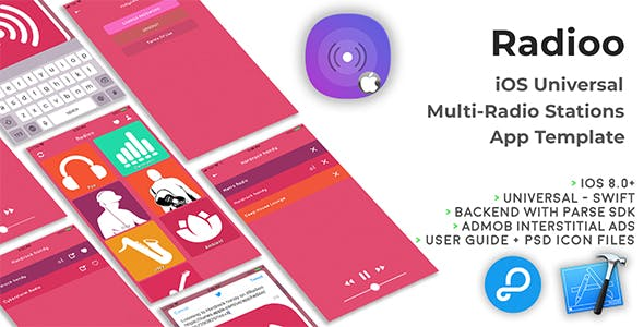 Radioo | iOS Universal Multi-Radio Stations App Template (Swift)