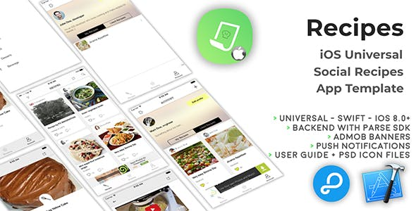 Recipes | iOS Universal Social Recipes App Template (Swift)