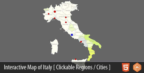 Interactive Map of Italy - HTML5