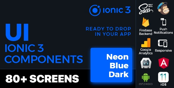 Ionic 3 / Angular 6 UI Theme /  Template App - Multipurpose Starter App - Neon Blue Dark - CodeCanyon Item for Sale