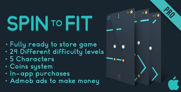 Spin to fit - Fun Arcade Game IOS Template + easy to reskine + AdMob