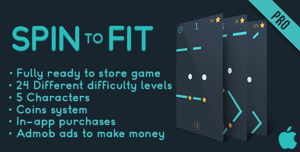 Spin to fit - Fun Arcade Game IOS Template + easy to reskine + AdMob - CodeCanyon Item for Sale