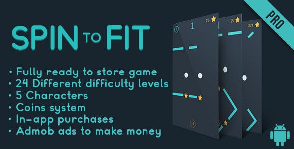 Spin to fit - Fun Arcade Game Android Template + easy to reskine + AdMob