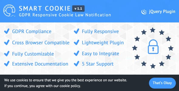 SmartCookie - GDPR Responsive Cookie Law Notification