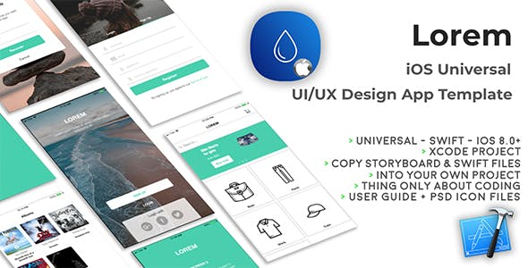 Lorem | iOS Universal UI Kit Design Template (Xcode project)