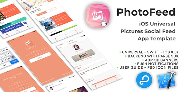 Photofeed | iOS Universal Social Photo feeds App Template (Swift) - CodeCanyon Item for Sale